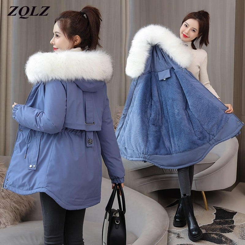 ZQLZ حجم كبير 4XL سترة طويلة المرأة شتاء دافئ أسفل القطن معطف مبطّن الإناث فضفاضة مقنعين الفراء طوق سترة سوداء عادية فام