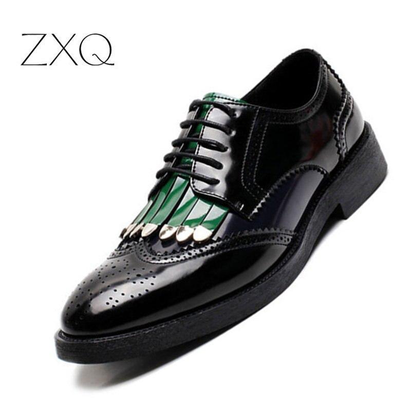 Oxfords Wingtip chaussures hommes couleurs mélangées classique affaires Brogues chaussures formelles à lacets pointu haut italien chaussures élégantes