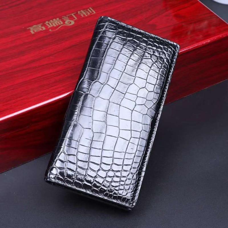 2021 SS Genuine Crocodile leather bil-fold wallet men Aligator Belly Leather long purse wallet mens purse leather Men's hand bag
