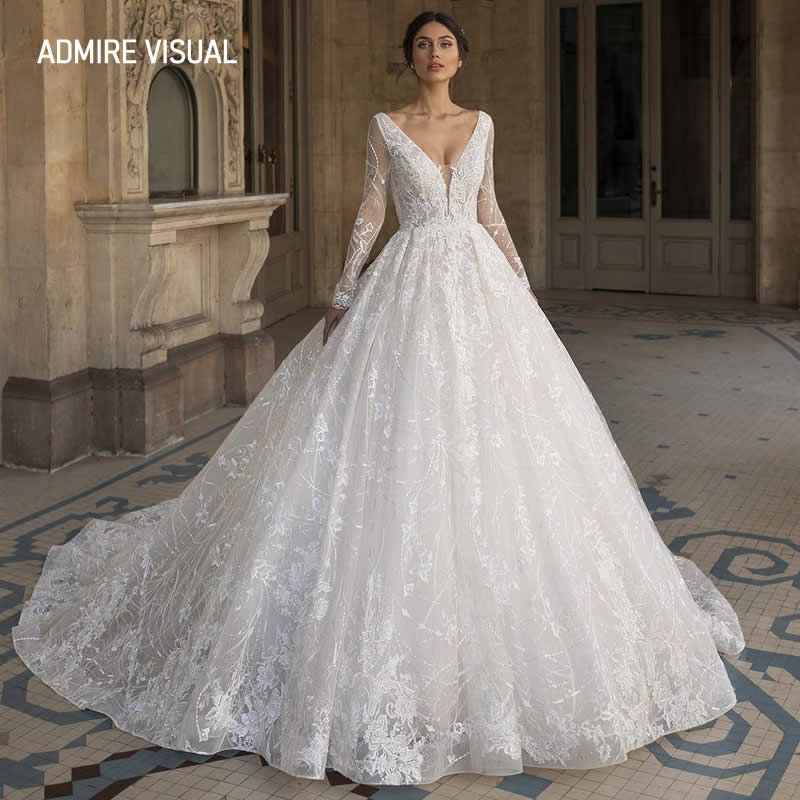 Get Newest Wedding Dress Ball Gown Lace Full Sleeves Deep V-Neck Neckline Open-Back Plus Size Bride Dress 2021 Vestidos De Novia