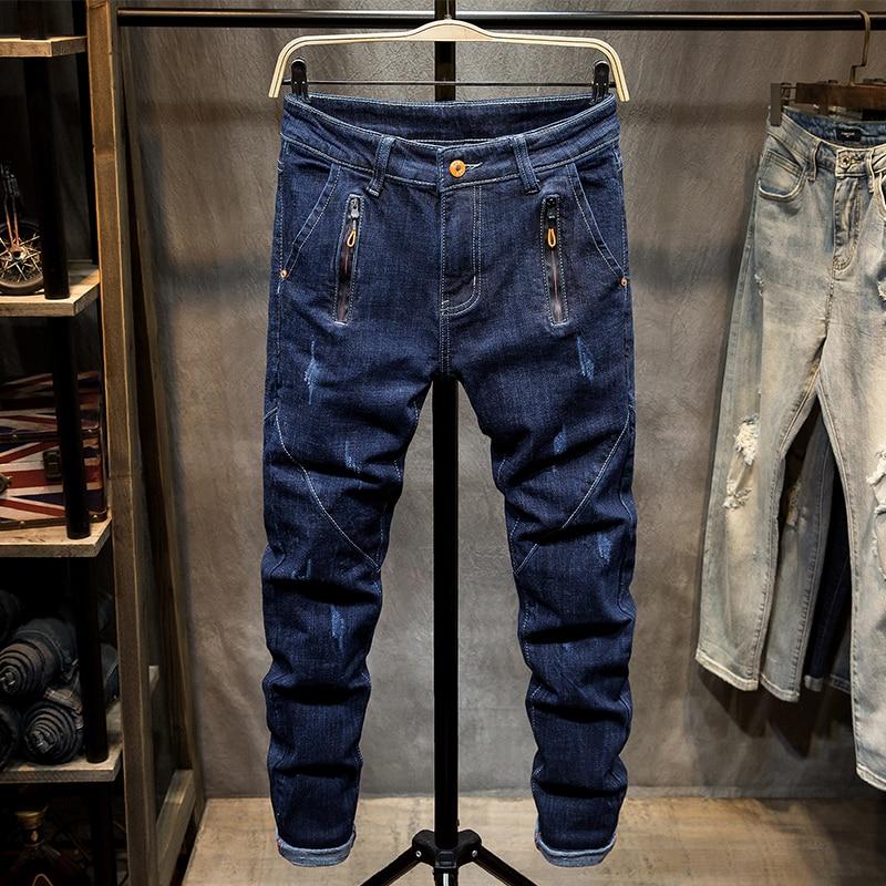 بنطلونات Hombre جان أوم الرجال الجينز سراويل جينز السائق عالية الجودة الذكور مصمم عادية الجينز للرجال بنطلونات