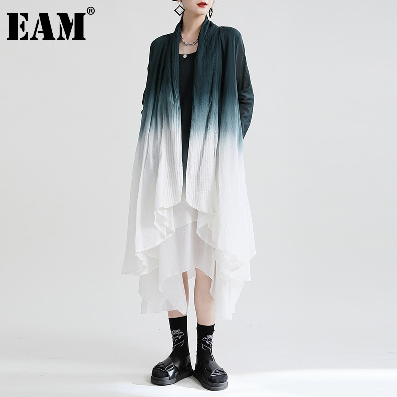 [EAM] المرأة غير النظامية طويلة التدريجي اللون خندق جديد الخامس طوق طويلة الأكمام فضفاضة تناسب سترة واقية موضة ربيع الخريف 2021 1DE234