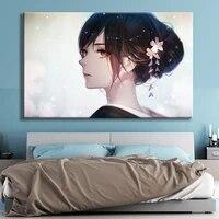 Toile de decoration HD fille douce japonaise  affiche de decoration murale  peinture de maison  decoration danimation