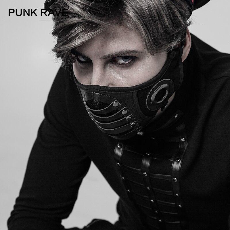 PUNK RAVE nuevo Steampunk hombres máscara elegante gótico hombre moda interior transpirable doble red Cool máscaras de cuero Overwatch Cosplay