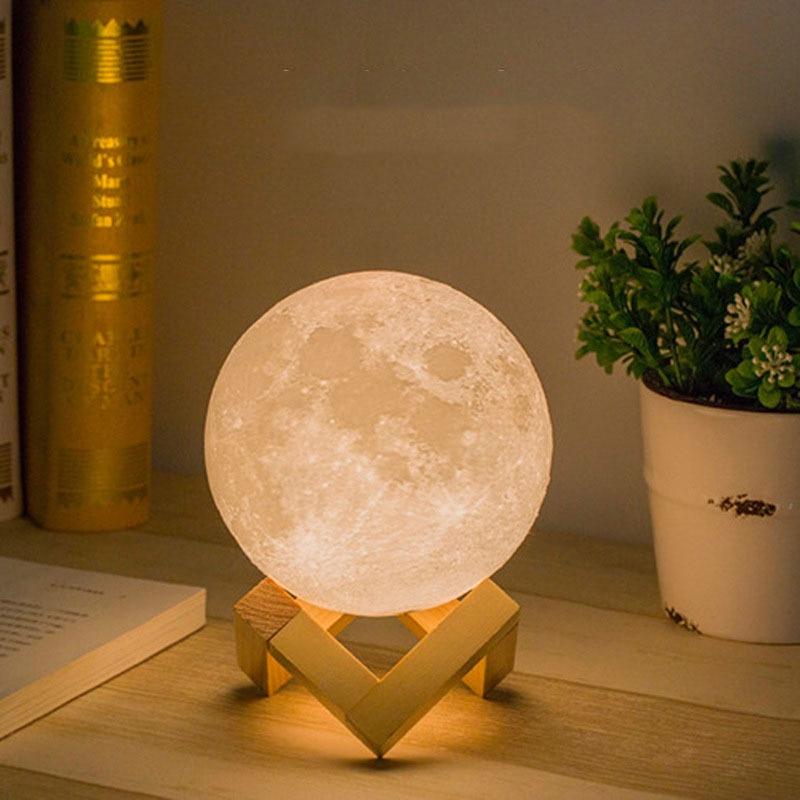 Table Moon LED Night Light LED Night Light Atmosphere light 3D Print Moon Lamp LED Night Light Childrens Night Lamp for Home