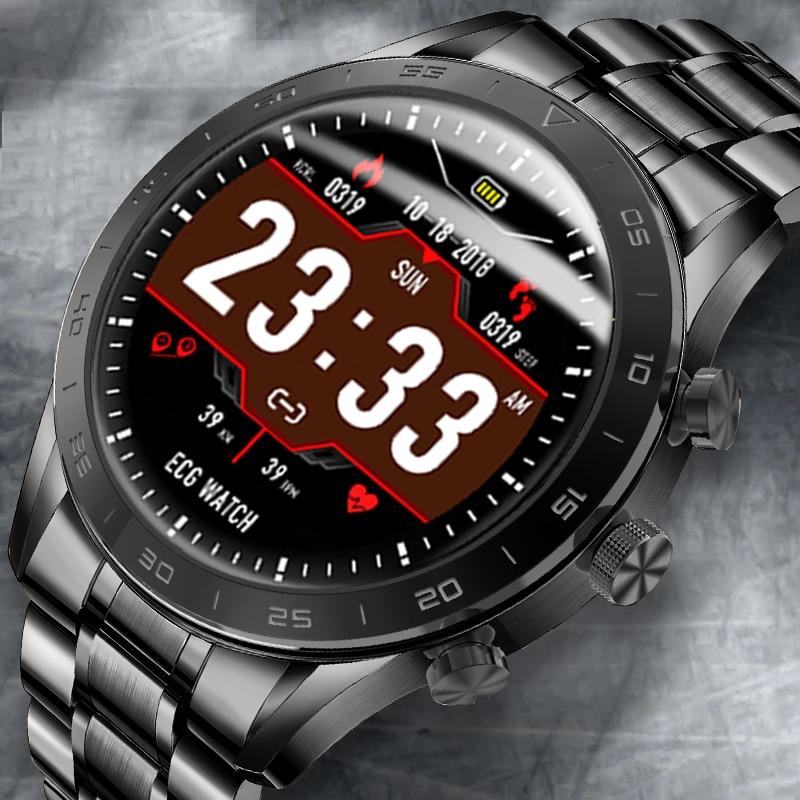 ECG + PPG معدل ضربات القلب Smartwatch رجل امرأة كامل الشاشة مقاوم للماء الرجال ساعة ذكية ديناميكية بلوتوث الاتصال الهاتفي smartwatch للرجال