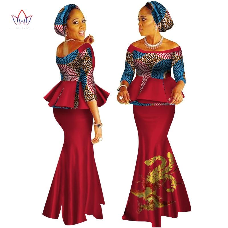 Платье с принтом Дашики в африканском стиле, комплект из топа и юбки, ручная работа, с открытыми плечами, половина рукава, африканская Женска...
