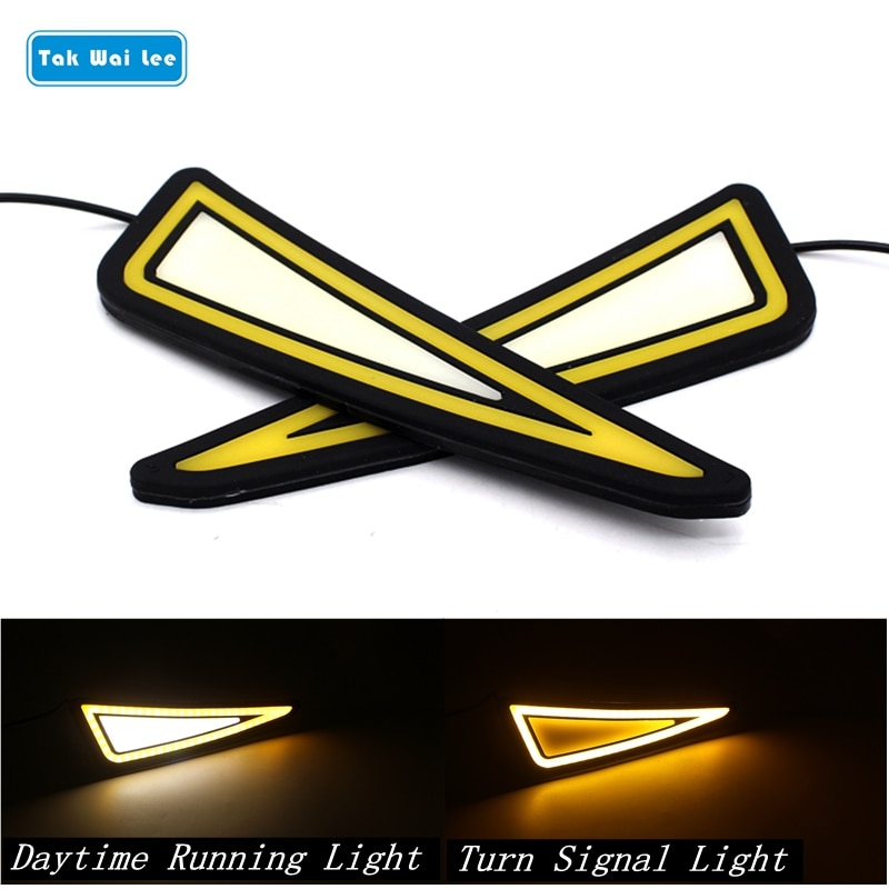 Tak Wai Lee 2X COB LED luces de circulación diurna blancas estilo de coche DC12V impermeable Flexible amarillo intermitente lámpara de día con palo
