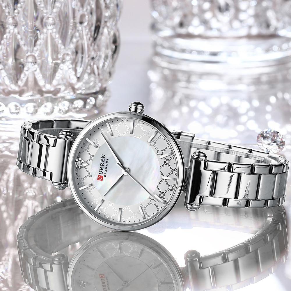 CURREN 2020 New Fashion Diamond Design White Silver Quartz Watch Stainless Steel Waterproof Clock Luxury Brand Watches for Women enlarge