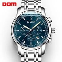 2018 new watches dom men watch luxury chronograph men sports watches waterproof full steel quartz mens watch relogio m 75d 1mpe