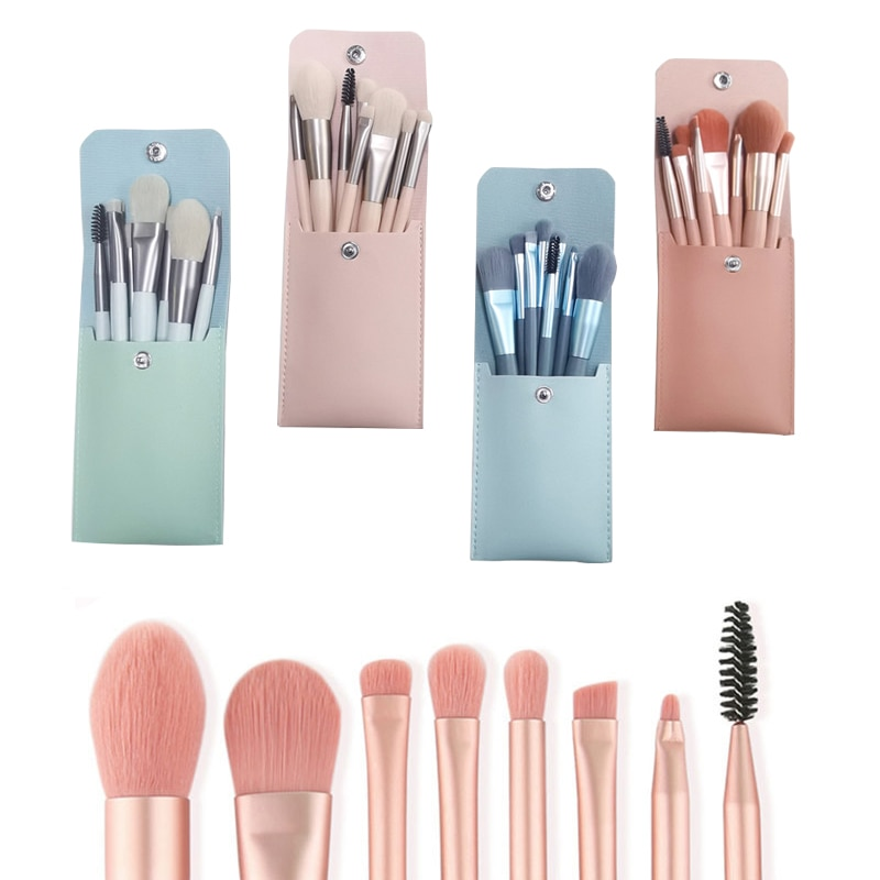 набор кистей профессиональных кисти для макияжа лица, набор из 8 предметов с сумкой для основы под макияж, натуральных волос, для теней, румя...