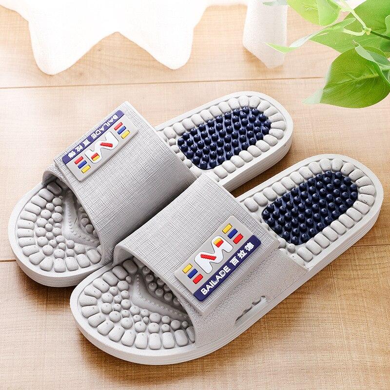 Бесплатная доставка, массажные тапочки для ног для мужчин и женщин, домашние тапочки для акупунктуры, Нескользящие