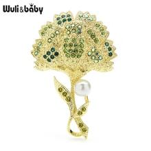 Wuli & baby – broche en fleur de Broccoli, perle, cadeau de fête, nouveau, 2021
