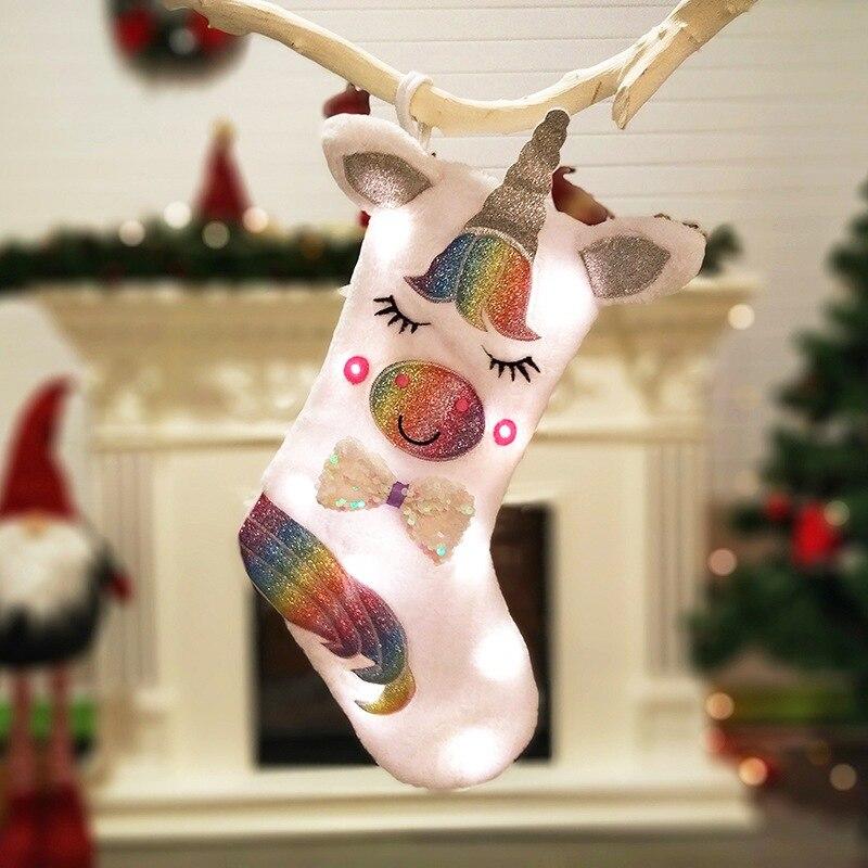 Dibujos animados de animales de peluche colgante de Navidad bolsa de caramelo grande unicornio calcetines de Navidad bolsa de regalo chimenea colgante decoraciones
