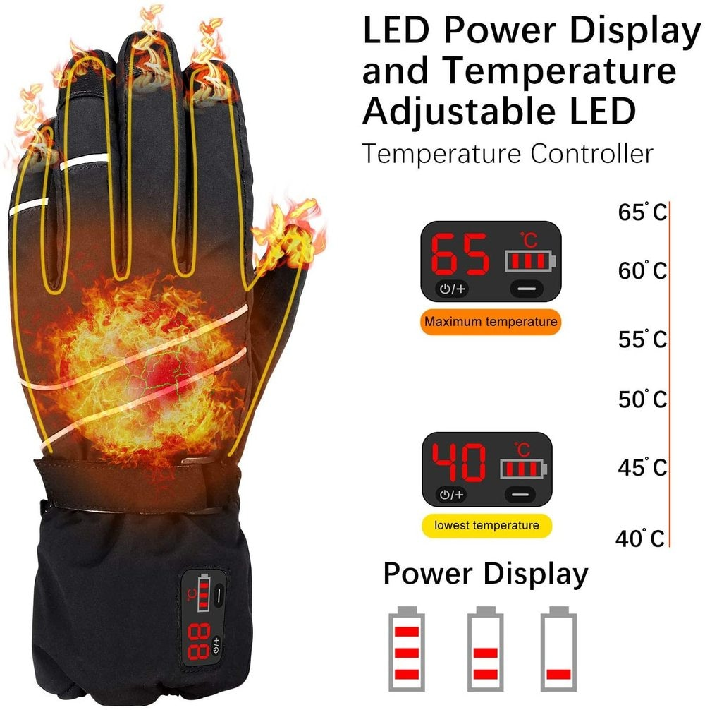 Rechargeable Heated Gloves 7.4V Battery Electric Winter Hand Warmer with LCD Display Temperature for Motorcycle Cycling =Skiing