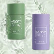 1PC Green Tea Plant Solid Mask Stick Clean Mask Mud Mask Oil Control Blackhead Shrink Pores Smear Ma
