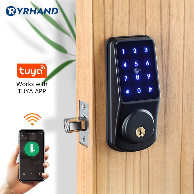 Tuya casa inteligente wifi keyless seguro deadbolt controle remoto teclado eletrônico digital inteligente rfid fechadura da porta