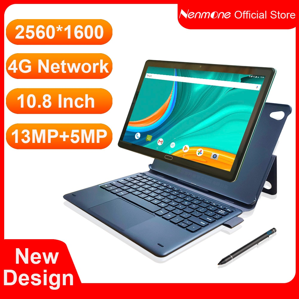 2021 new 10 8 inch tablet pc android 8 0 deca core 2560 1600 ips display 4gb 64gb tab 13mp camera 4g lte network tablet android 2021 Original 4G 10.8 Inch 2 In 1 Laptop Tablet Android 8.0 MTK6797 Deca Core Dual 4G Phone Tablet Gaming 2560*1600 13MP Camera