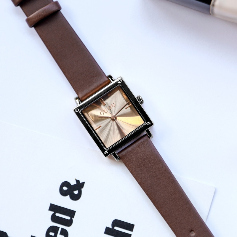Women Watches Genuine Leather Band Luxury Brand Square Trendy Quartz Wristwatch Waterproof Ladies Watch Designer Reloj Mujer enlarge