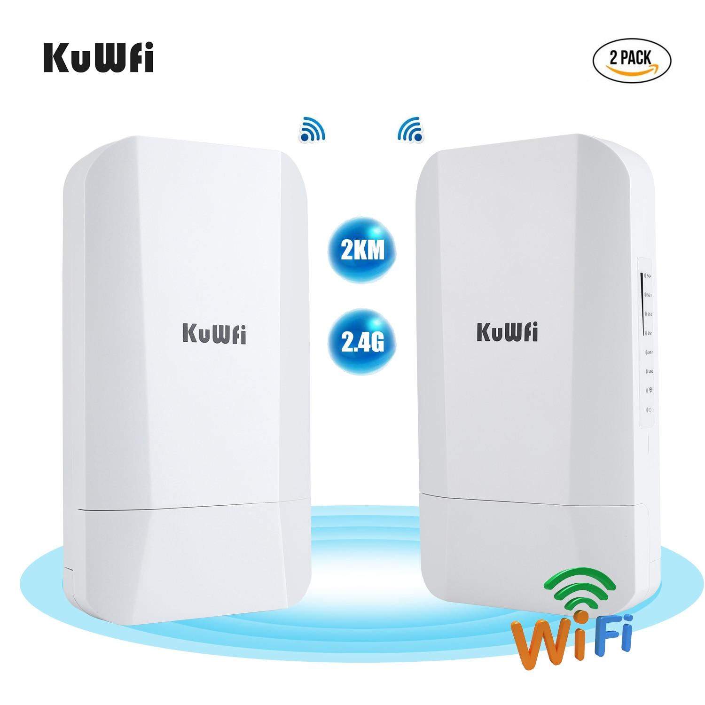 Kuwfi 1 pces/2 pces 300mbps 2.4g ponte sem fio ao ar livre 14dbi alto ganho antena gigabit rj45 porta ip65 à prova drjágua