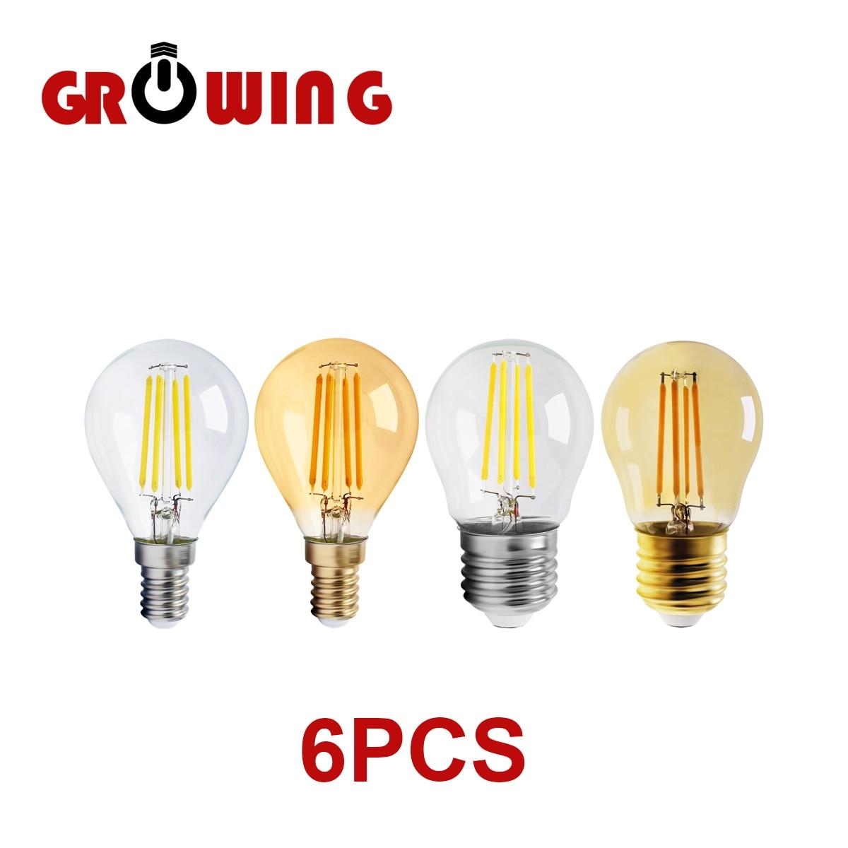 Винтажная лампа накаливания Эдисона 4 Вт G45, E14, E27, 220 В, 6 шт./лот, 2700 к, золото 4000 к, прозрачное стекло, внутреннее украшение