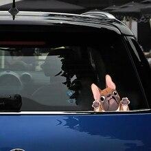 Linda pegatina de Bulldog Francés, decoración de ventanas de coche, pegatinas de coche de dibujos animados con forma de perro, pegatina reflectante, estilo de coche