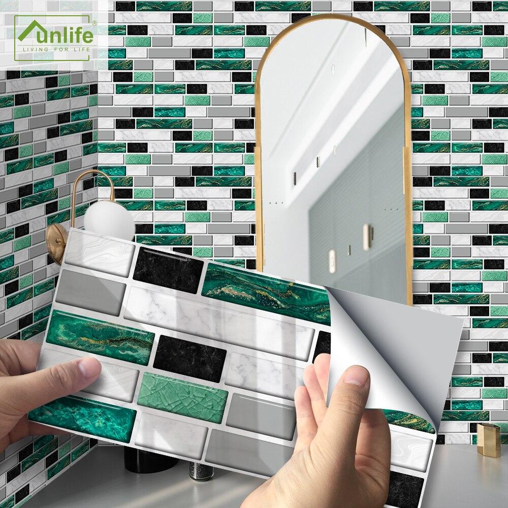Funlife®20x10cm impermeável auto-adesivo backsplash telha portão verde telha de mármore adesivos para lareira cozinha banheiro decorações