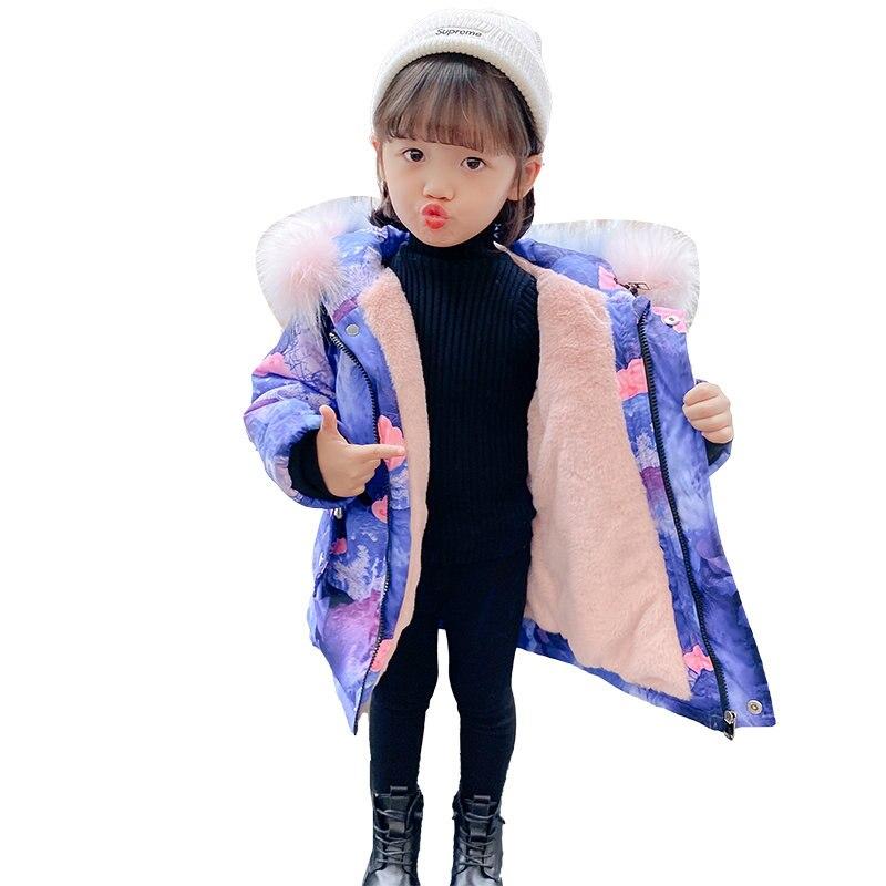casaco de inverno infantil de luxo com capuz jaqueta quente de estampa vintage para