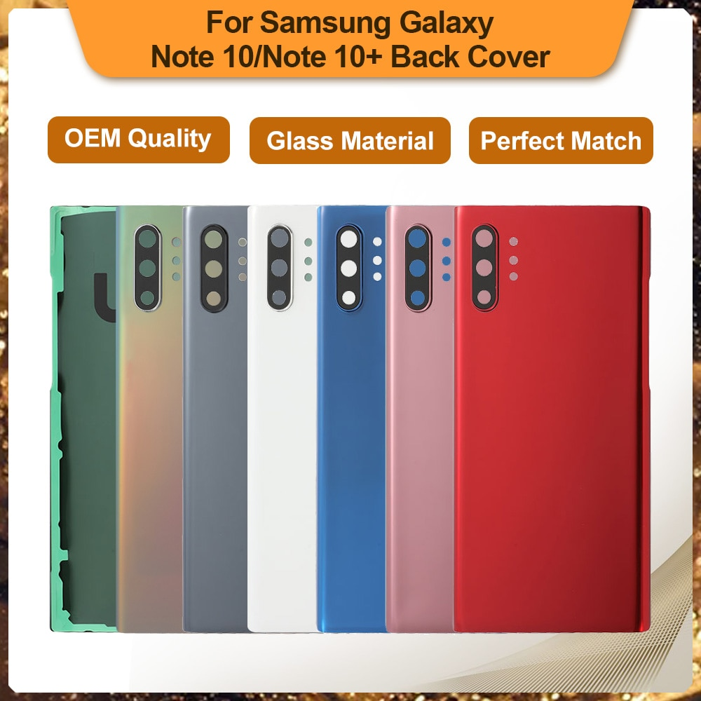 Фото - Cover For Samsung Galaxy Note 10 Plus Back Glass SM-N975 Rear Glass For Samsung Note 10 SM-N970 Back Cover Battery Replacement чехол для samsung galaxy note 10 2019 sm n970 clear cover прозрачный