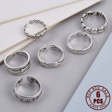 6 Pcs Vintage Silver Color Open Rings For Women Punk Adjustable High Quality Female Men Finger Anxie