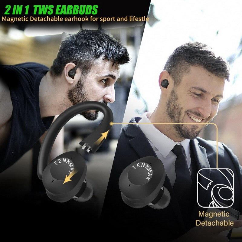 2 IN 1 Bluetooth Sport Gaming TWS Earphones, TENNMAK SMARTPRO True Wireless Detachable Earhook Earbuds W/ 2 EQ Sound enlarge