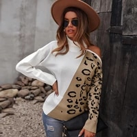 knitwear 2022 leopard print sweater mujer pullover cozy knit loose waist thermal jumper thick knitted jersey long sleeve shirt