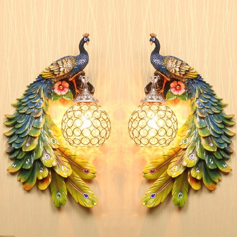 Lámpara de pared de Color de resina de cristal de un par de pavo real del sudeste asiático