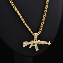 2019 New Fashion Punk Hip-Hop Women Men Gun Shape Pendant Crystal Rhinestone Chain Necklace Creative Necklaces Jewelry