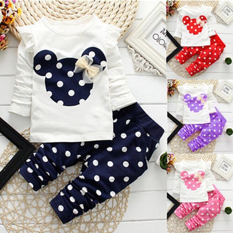 Ropa interior de Minnie para niños, ropa para niño niña, ropa de manga larga + Pantalones, conjunto de ropa para niños de Mickey, conjunto de Ropa para Niñas con puntos