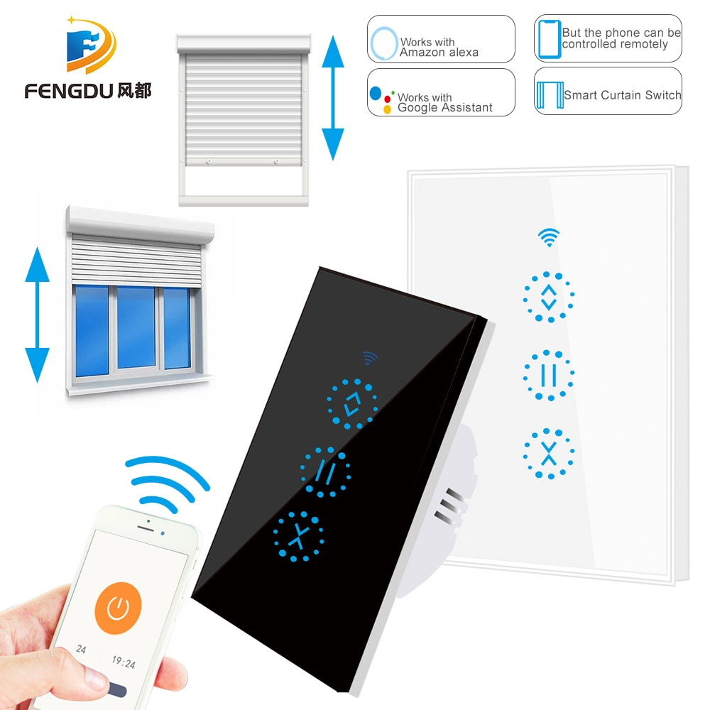 Wifi painel de toque interruptor cortina ewelin app controle remoto rolo elétrico obturador cego controle voz google casa amazon alexa