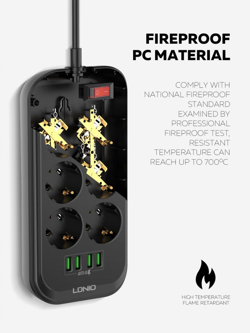 Carregamento Rápido Tuya Plugues Adaptadores 6 ue Plug Power Strip Interruptor Tomada Elétrica Ldnio 17w 3.4a 4-port Usb