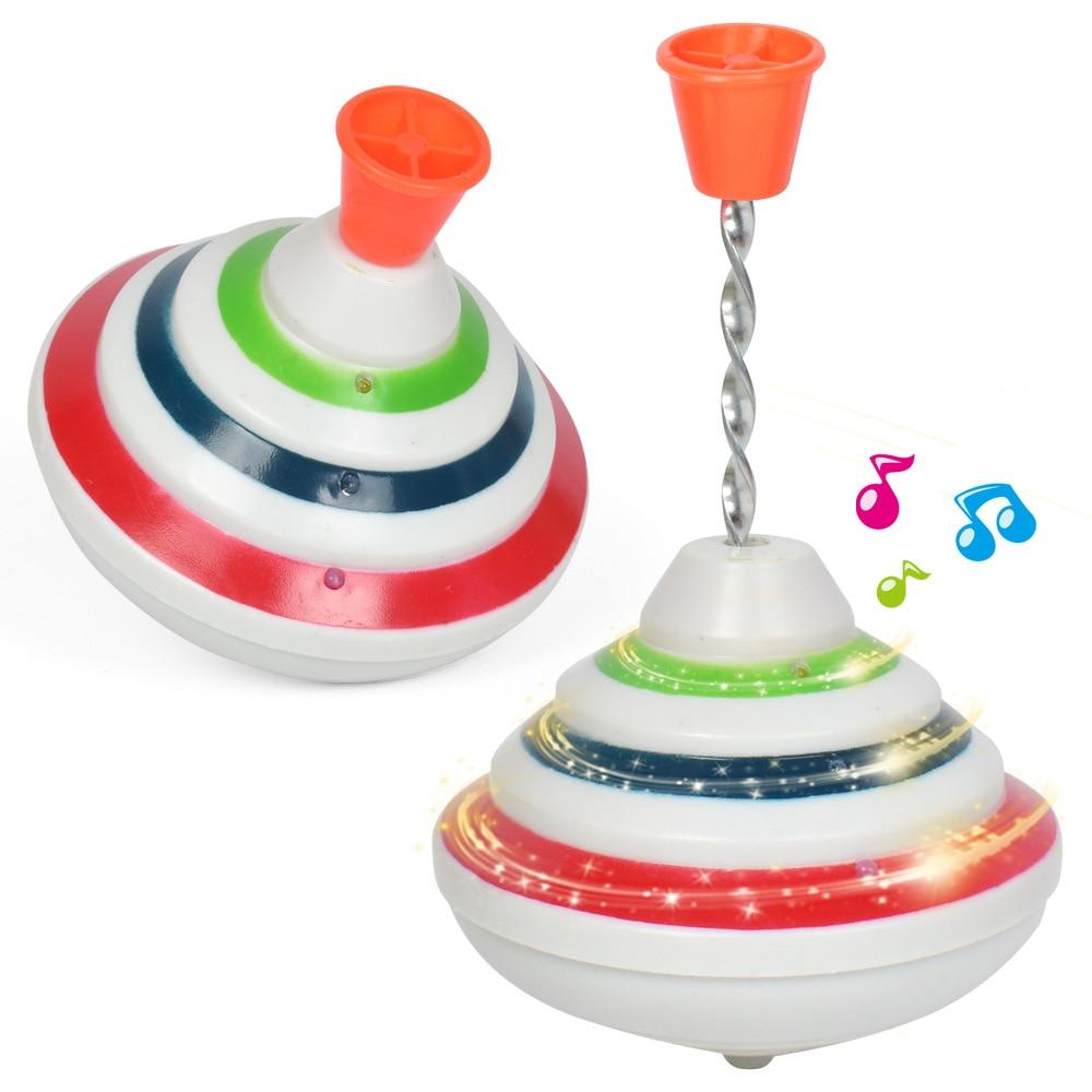 classico girando topos brinquedo engracado musica luz giroscopio brinquedo mao empurrar