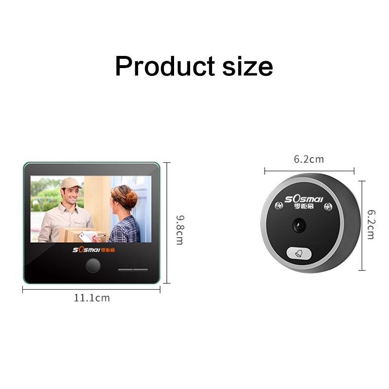 4.3 Inch Color Screen Digital Doorbell Electronic Peephole Door Camera Viewer Door Bell 140 Viewing Angle Home Security Doorbell enlarge
