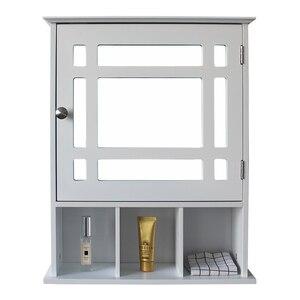 【US Warehouse】Single Door Three Compartment Storage Bathroom Cabinet –White   Drop Shipping USA