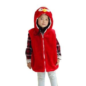 DOUBCHOW Animal Vest Unisex Children's Cartoon Red Eagle Winter Hooded Kids Girls Plush Outwear Coat Fleece Inside Winter Cloth