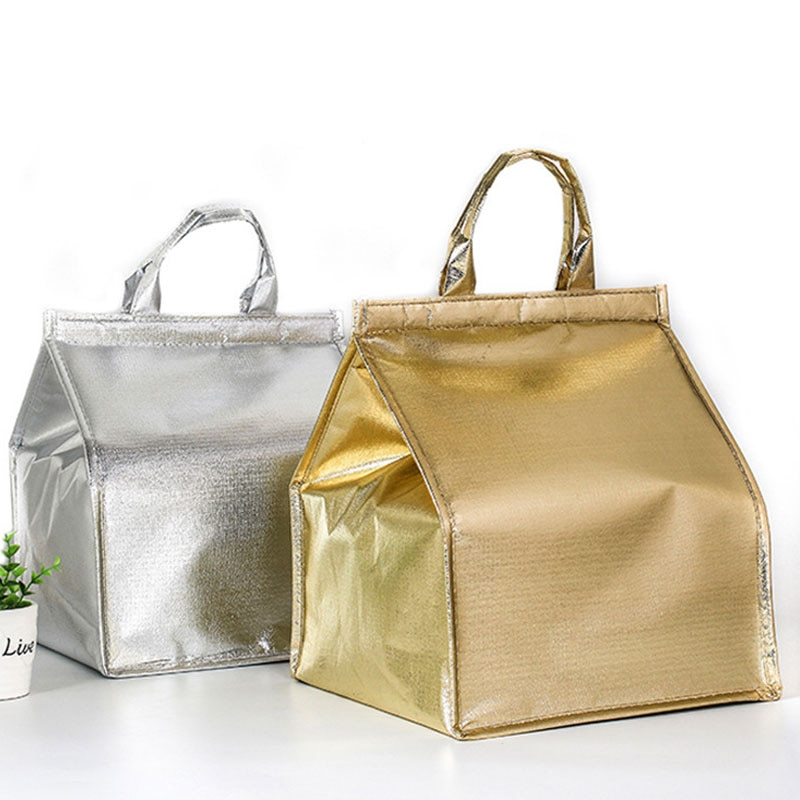 Portable Aluminum Foil Non-Woven Insulation Bag Solid Color Foldable Picnic Takeaway Bags 6/8/10 Inch Food Case Lunch Cake Bag