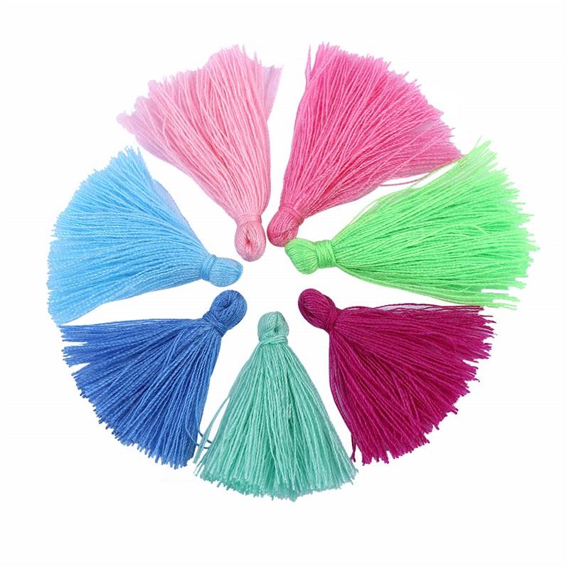 100PCS 3CM Mini Cotton Thread Fabric Tassel DIY Pendant Jewelry Bracelet Key Making Fringe Trim Craft Tassels Sewing Accessories