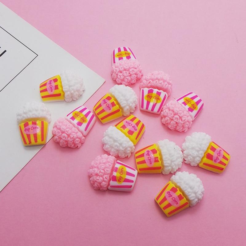 50Pcs Mini Play Food Kawaii Cute Popcorn Flat back Resin Cabochon DIY Crafts Phone Decoration Miniature Dolls Accessories