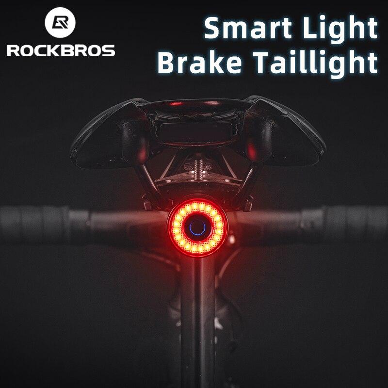 ROCKBROS vélo feu arrière vtt vélo de route nuit cyclisme lumière arrière capteur de frein intelligent voyant davertissement étanche vélo accessoires