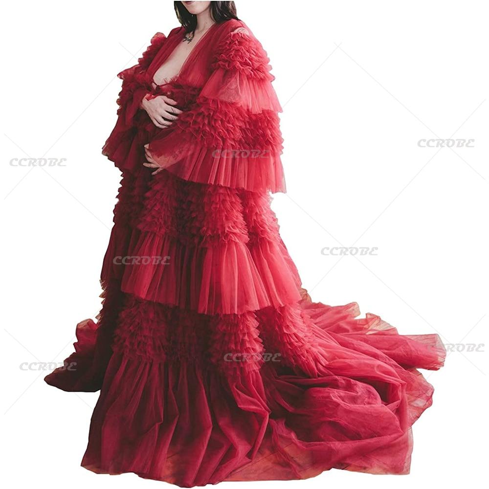Ladies Tulle Robe Sexy Illusion Long Dress Wedding Bridal Shower Lingerie Bathrobe Maxi Maternity Pregnancy Photoshoot Dresses