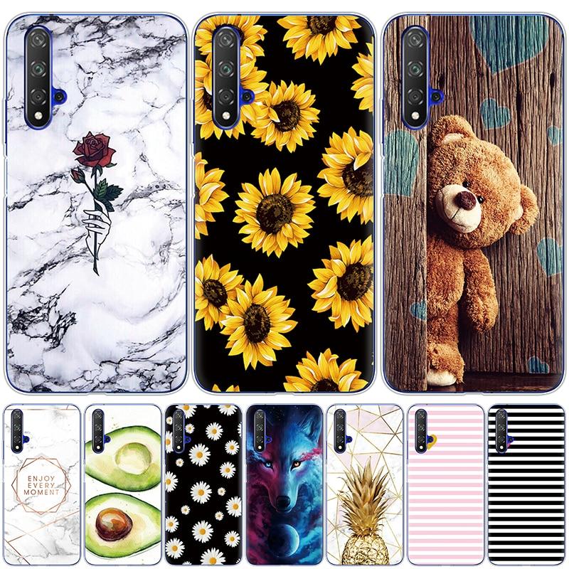 Caso de Huawei Nova 5 caso suave TPU cubierta del teléfono de silicona para Nova5T 5 T YAL-L21 6,26 Fundas Coque parachoques piel a prueba de golpes a prueba