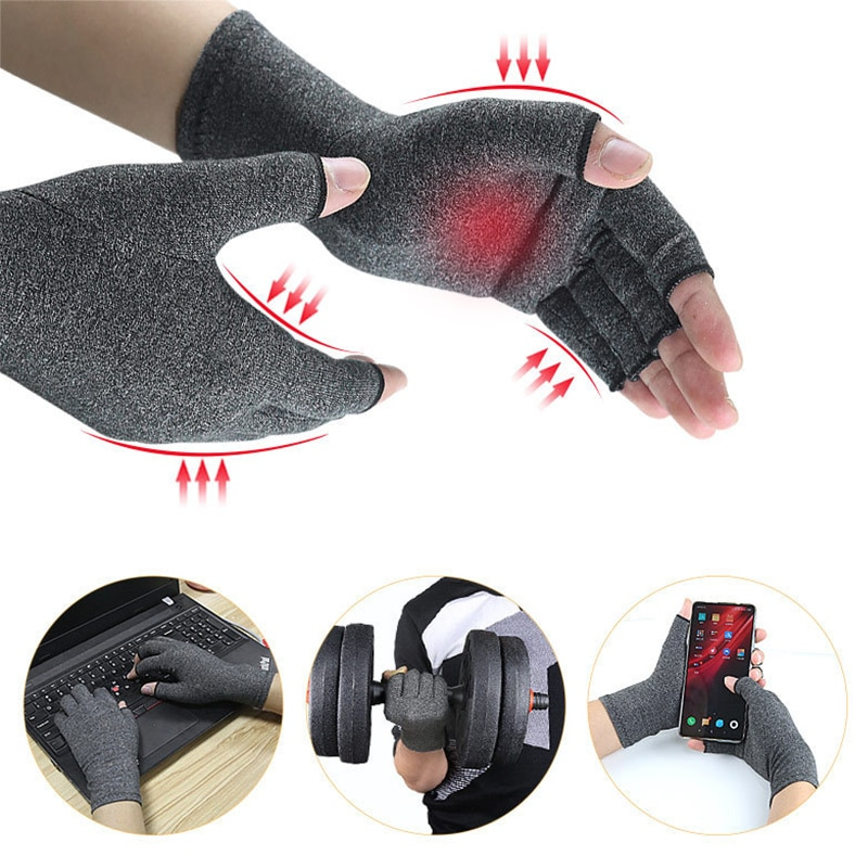 Therapy Compression Gloves Unisex Dispensing Non-Slip Pressure Gloves Half Finger Fitness Gloves Arthritis Joint Pain Relief