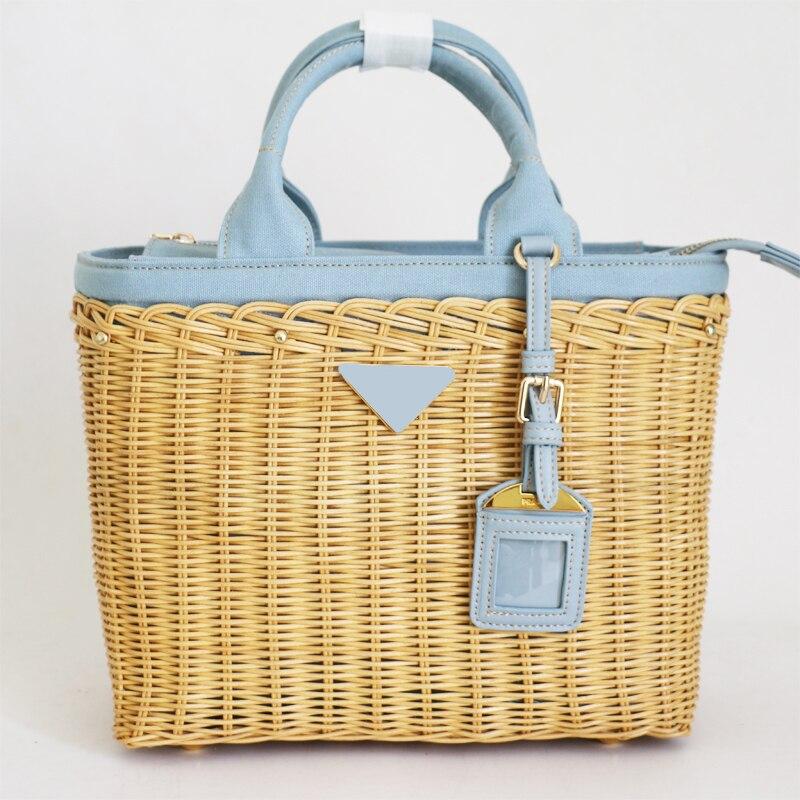 Bolso de mano para mujer, bandolera de mimbre de lujo, bolso de lona hecho a mano de mimbre, bolso de diseñador para playa y verano 2019, bolso de mujer