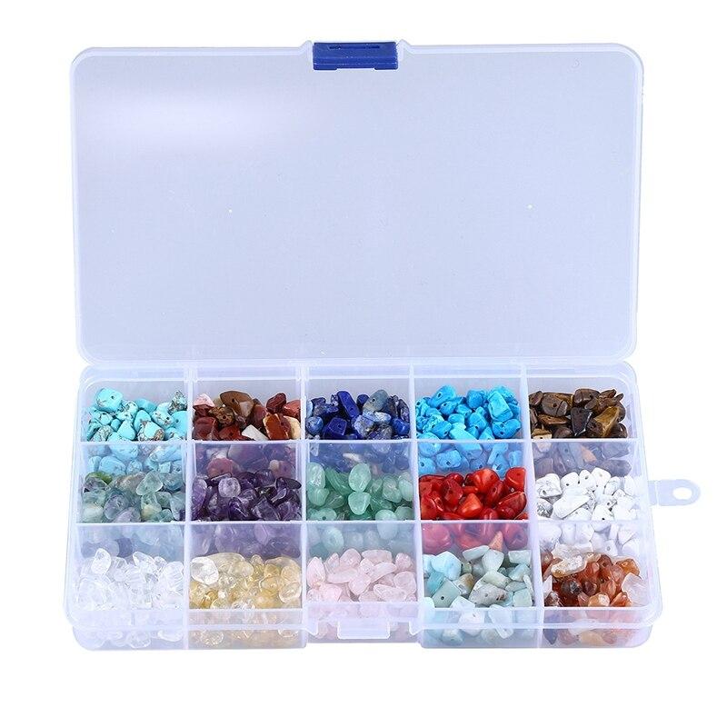 Нерегулярные 15-Цвет ассорти в коробке набор свободные шарики размером 7-8 мм, с украшением в виде кристаллов Камень с теплой энергией, исцеле...